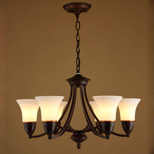 Glass Chandeliers Vintage Lamp Living Room Kitchen Dining Room Stair Light White Lampshade Black Iron Home Lighting E14 110-220V