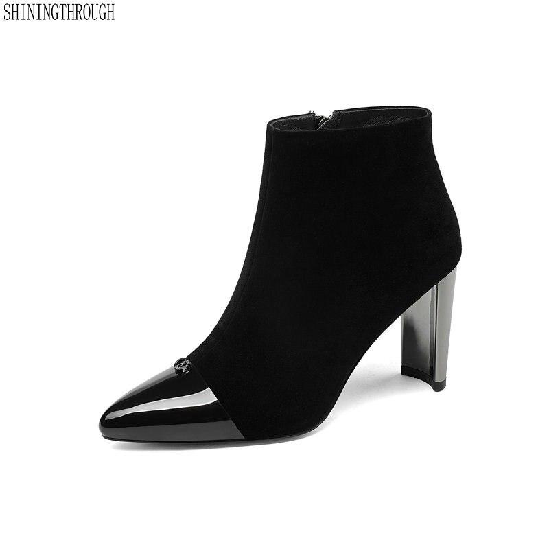 New high heels ankle boots woman genuine leather ladies dress shoes autumn winter fashion women boots black large size 43 нагреватель воздуха газовый quattro elementi qe 10g 911 536