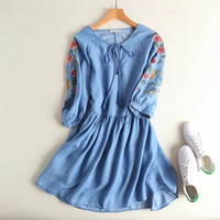 2017 women brand clothing V Neck lace up floral embroidery washed denim dress Female fashion cute loose mini jeans dresses S984