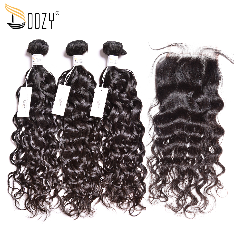 Doozy Brazilian Human Hair Bundles With Closure Water Wave Natural Color Human Hair Weave Remy Hair 3 Bundles With Closure