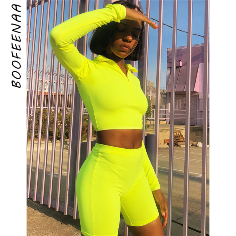 BOOFEENAA Fashion Neon Green Pink Tracksuit Women Two Piece Set Top and Pants Sweat Suits Biker Shorts Joggers Sets C87-AB82