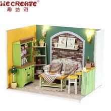 Green Island Tea 3D Puidust Doll House Mööbel Miniatuursed mänguasjad Lastele Nukud Majad Sünnipäeva kingitus DIY Home Decoration