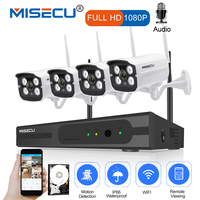 MISECU Plug and Play 4CH 1080P HD Беспроводной NVR комплект P2P 1080 P 2MP Крытый Открытый Камера аудио запись Водонепроницаемый CCTV WI FI Системы