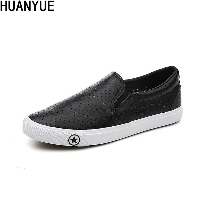 New Fashion Men's Vulcanized Shoes Black White Men Flat Outdoor Sneakers Spring Summer Man Slip-on PU Shoes Zapatos De Hombre
