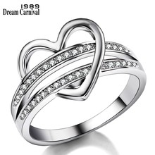 DreamCarnival 1989 New Romantic Women Ring Hollow Heart Rings For Couple Wedding AAA Zirconia Hot Selling Drop Shipping WA11323(China)