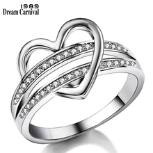 DreamCarnival 1989 New Romantic Women Ring Hollow Heart Rings For Couple Wedding AAA