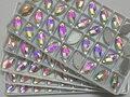 5x10mm Forma de la Hoja de Cristal Claro AB 2holes coser los botones de cristal base de Plata piedra de cristal.