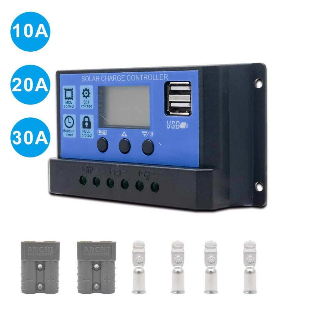 Free shipping 10A Auto work Solar Charge Controller PWM with LCD Dual USB 5V Output Solar Cell Panel Charger Regulator PV Home