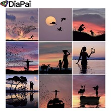DIAPAI Diamond Painting 5D DIY Full Square/Round Drill Dusk scenery Silhouette 3D Embroidery Cross Stitch Decor Gift
