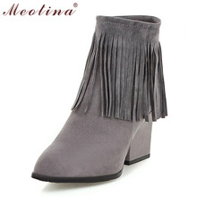 Winter Women Boots Thick High Heel Boots Fall Pointed Toe Tassel Ankle Boots Zip Footwear Ladies Shoes Beige Gray Big Size 10 43
