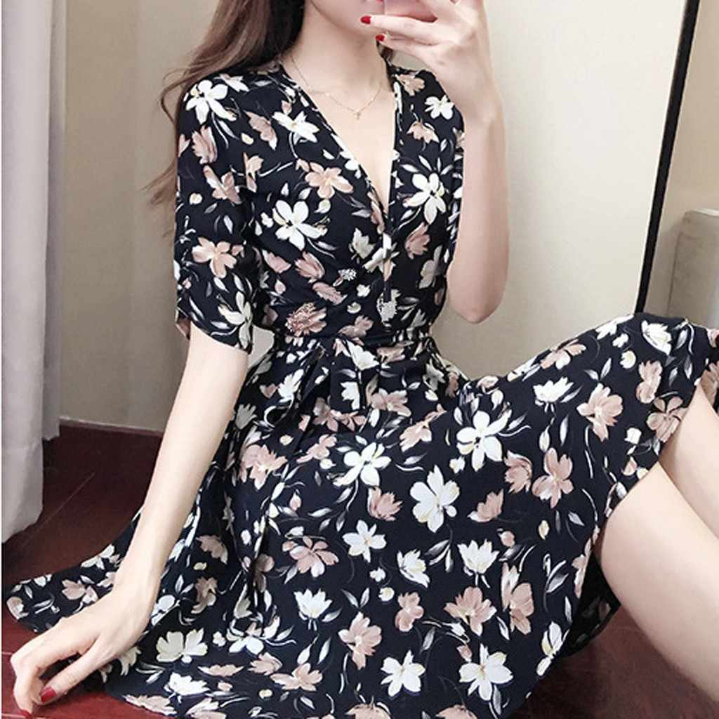 2019 latest high quality fashion women's sexy elegant knee long sleeve printed V-neck party party summer dress Female Vestidos