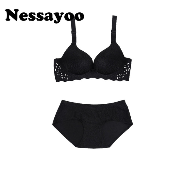 7efa85945f Nessayoo B C cup Seamless Bra Set for Women Underwear Red Black No rims  Wireless push up bra and panties lingerie set small bust