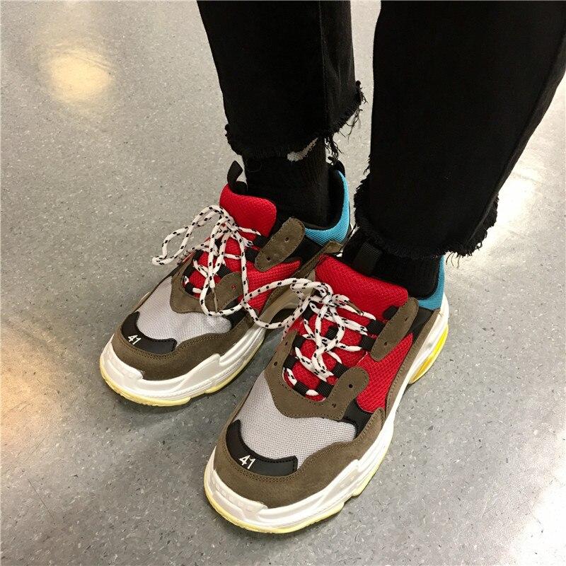 Zapatillas De gris Deporte rojo Blancas Señoras Chaussure Moda Femme Joker Casuales verde Gris Gamuza Mujer Cuero 2019 Primavera Zapatos Oscuro Plataforma nv4xvBf