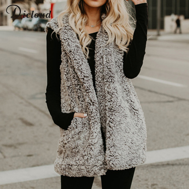 Dicloud sherpa vest female winter sleeveless jacket women long coat women downy cardigan hoody with fur vest for women