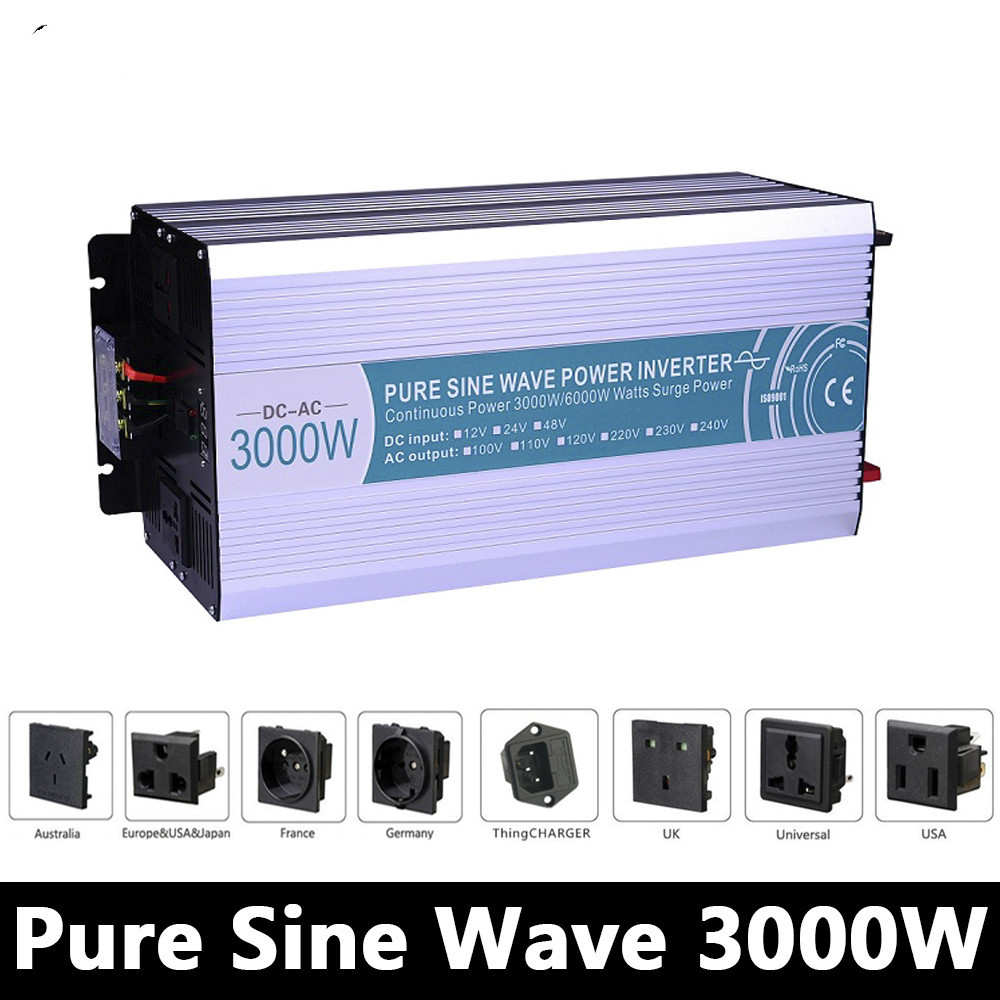 3000W Pure Sine Wave Inverter,DC 12V/24V/48V To AC 110V/220V,off Grid Solar Power Inverter,voltage converter Work with Battery full power 4000w pure sine wave inverter dc 12v 24v 48v to ac110v 220v off grid solar inverter with battery charger and ups