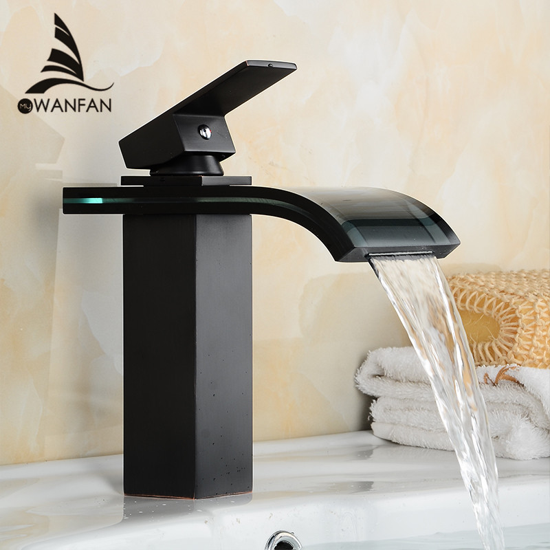 Best Promotion Bathroom Basin Mixer Tap Waterfall Faucet Sink Vessel Black Polished Finish Glass New Excellent Quality LH-16821 waterfall led brass tap basin sink faucet waterfall bathroom glass mixer polished chrome vessel tap finish 3 colors tree436
