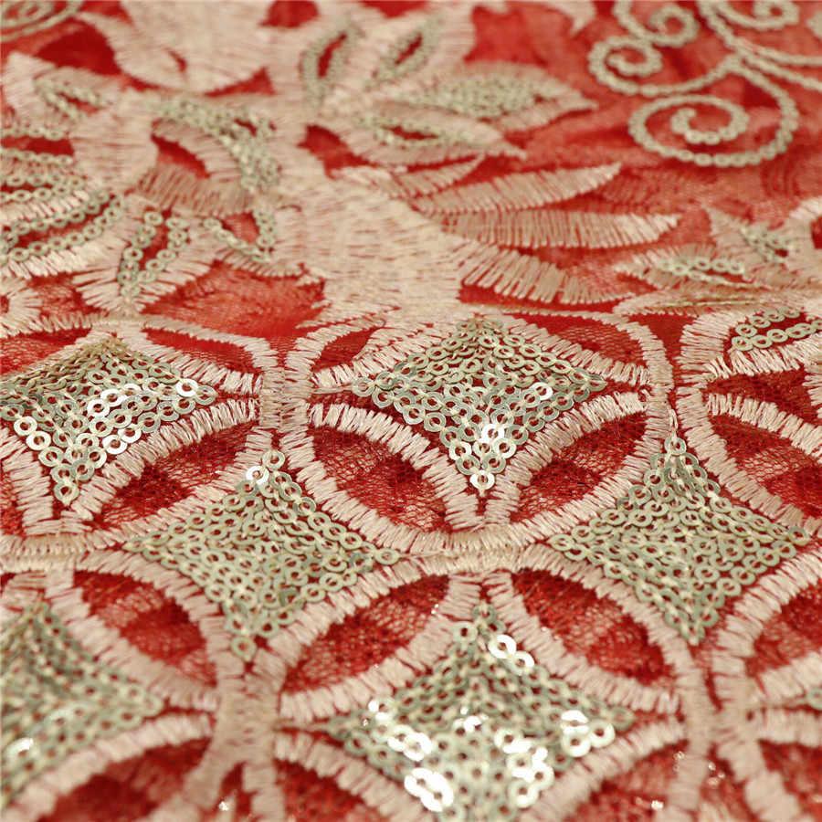 Verde 5Yds Paillettes Indiani Tessuto di Pizzo Rosso Nigeria Voile Maglia Netto Tulle Guipure Africano Del Merletto di trasporto Delle Donne Vestito Da Sera Paillettes Tessuto