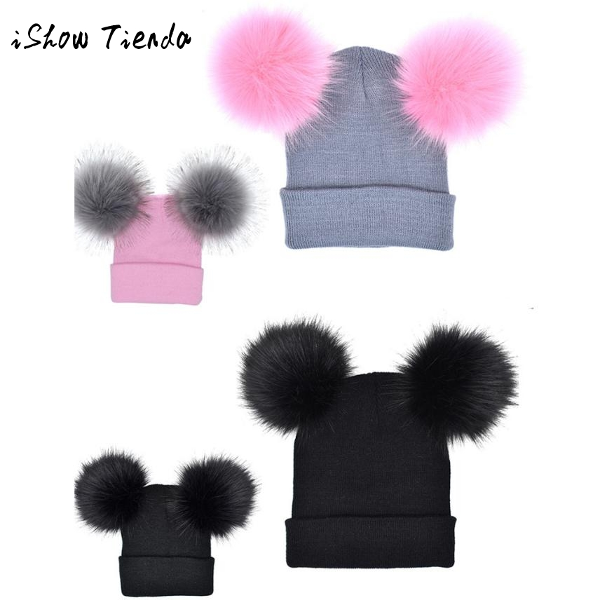 ISHOWTIENDA 2PCS Mom+Baby set Crochet Winter Knit hat kids Faux Fur ball Hat Pom Beanie Cap newborn photography accessories