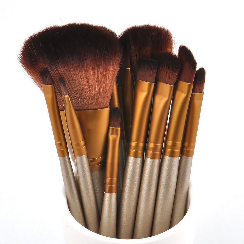 Golden 12Pcs/lot Make Up Brushes Set Foundation Powder Eyeliner Blusher Professional Cosmetics Makeup Brush Pinceaux  Maquiagem professional bullet style cosmetic make up foundation soft brush golden white