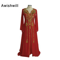 Designer Robe De Soiree Muslim Evening Dress Long Sleeve Golden Beadings Chiffon Red Long Prom Dresses