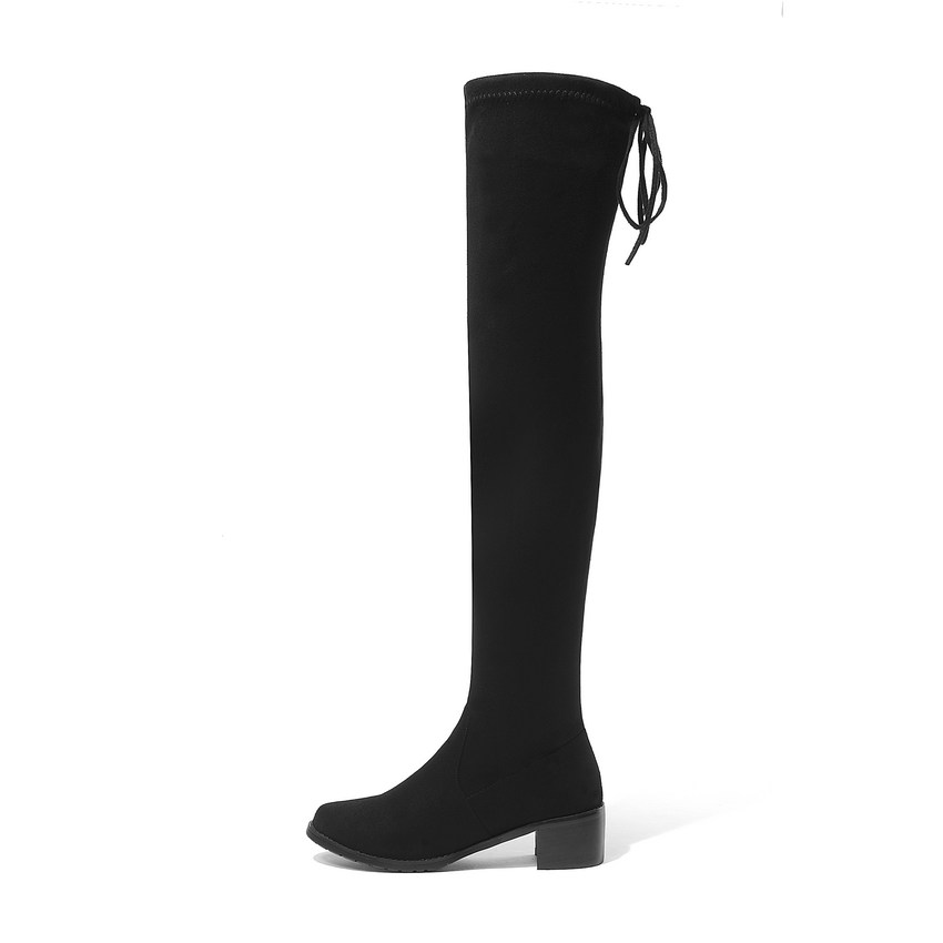 Image 2 - QUTAA 2020 Women Winter Boots Fashion All Match Elastic Fabric Over The Knee High Shoes Square Mid Heel Women Boots Size 34 43-in Over-the-Knee Boots from Shoes