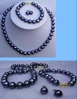 fine Lovely Wonderful word 9 10MM black pearl necklace bracelet earrings set gem women's jewelry silver