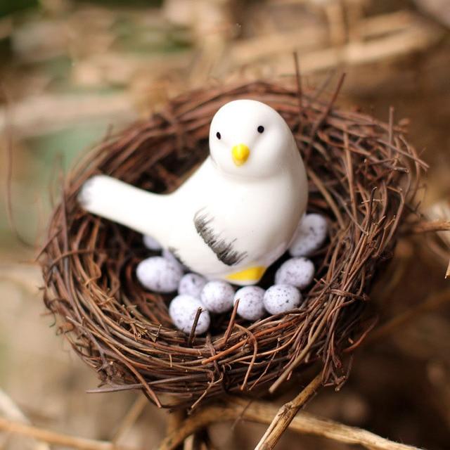 Artificial Nest Bird Eggs Miniature Fairy Garden Home