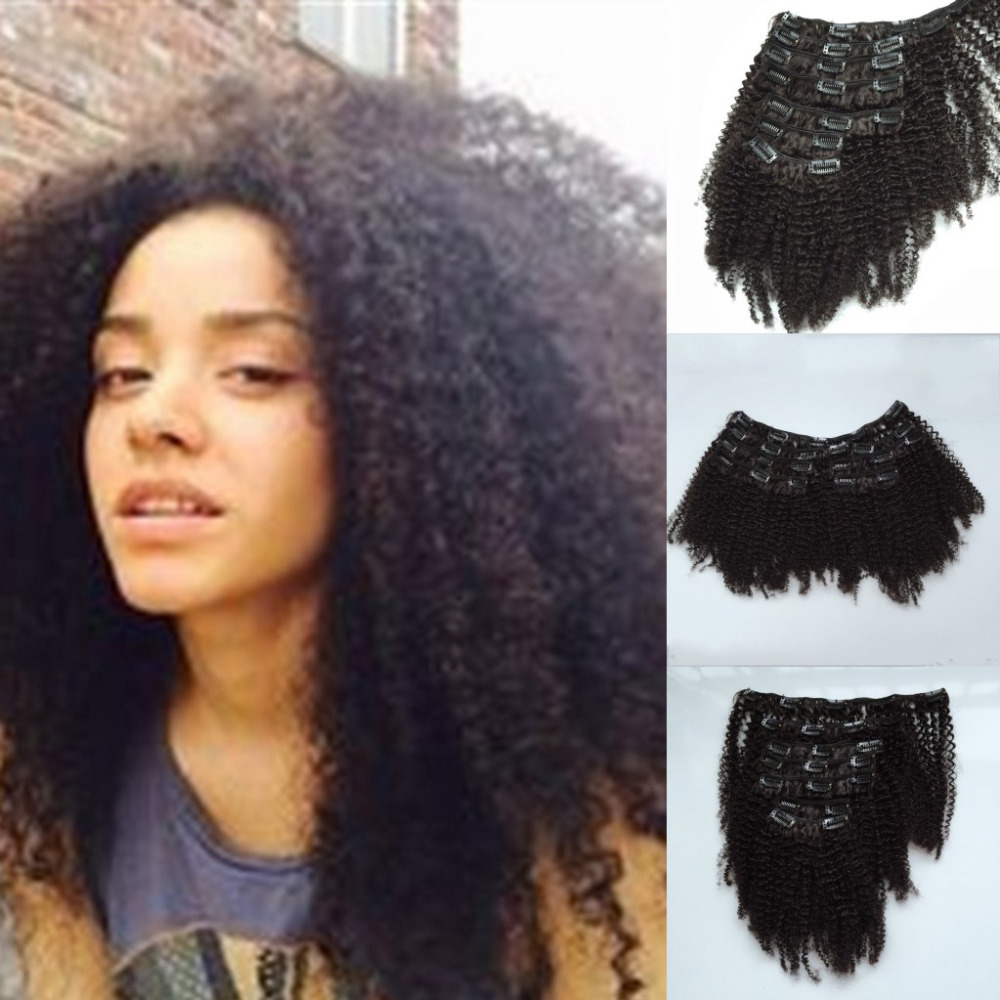 Beautiful Afro Kinky Curly Hair Mongolian Hair Clip In 7pcsset