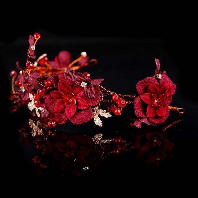 Wine Red Flower Pearls Wedding Tiara Headpiece Burgundy Hair Vine