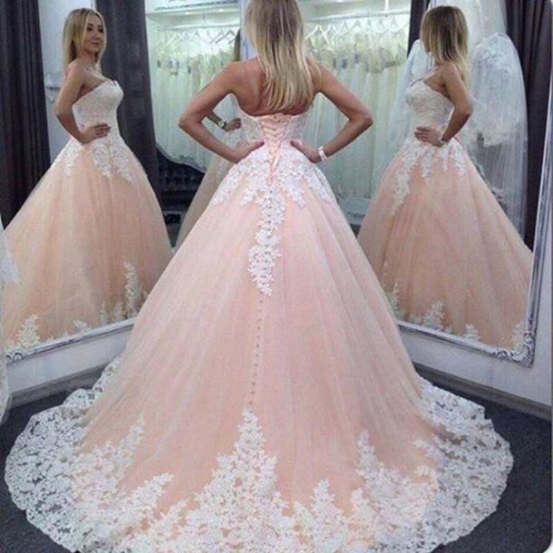 Beautiful 2016 New Light Coral Quinceanera Dresses White Lace Appliques Formal Gowns with Bandage for Special Occasion