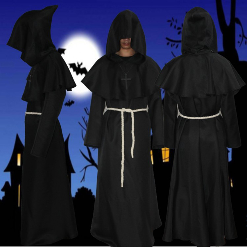 Monk/'s Robe and Hood Medieval Costume for Sage,Magician Priest and Friar Tuck