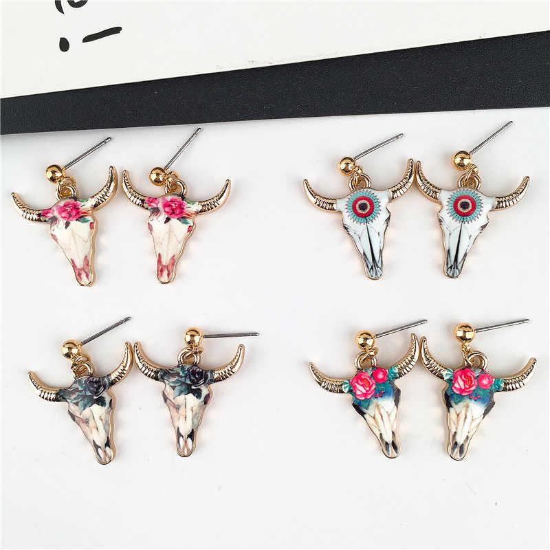 4 colores nuevos 2019 cabeza de toro con cuernos cuelgan gota pendientes de moda esmalte animal joyas de verano pendientes de mujer para regalos de fiesta