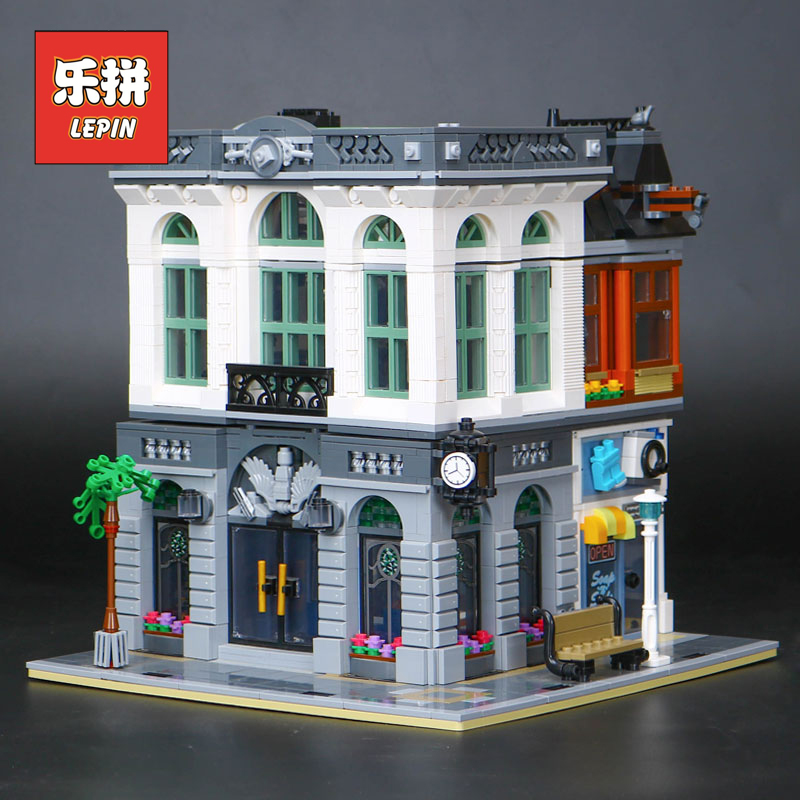 Lepin City Street 15001 Creative Series Brick Bank Set Model Building Kits Blocks Bricks Toy Compatible 10251 Children Gift