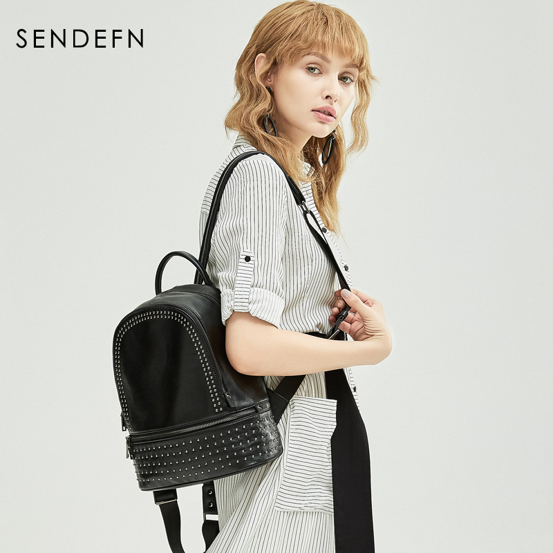 Sendefn Genuine Leather Backpack Large Capacity Rivet Black Shoulder Bag Women Casual Backpack Teenage Girls School Travel Bags cartoon melanie martinez crybaby backpack for teenage girls school bags backpack women casual daypack ladies travel bags