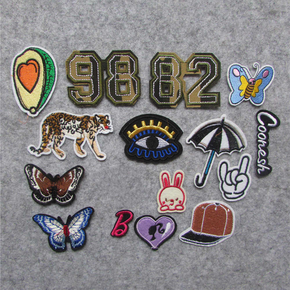 mix different style Heart Patch Iron On Kid Cheap Embroidered Cute Cartoon Patches For Clothes Sticker Jacket DIY Badges Appliqu