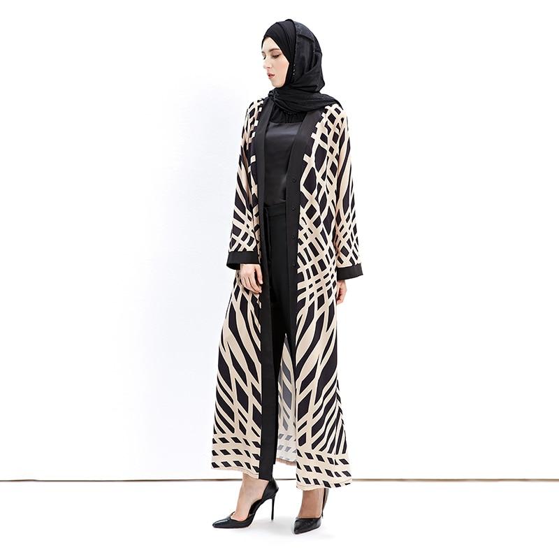 Fashion Muslim Abaya Print Full Dresses Cotton Cardigan Kimono Long Robe Gowns Tunic Middle East Ramadan Islamic Prayer Clothing