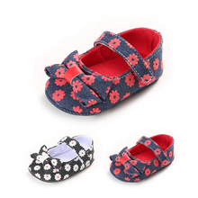 Sweet Newborn Baby Girls Princess Prewalkers Shoes Print Mary Jane Ballet Dress Big Bow Soft Soled Footwear Shoes For 0-18Months
