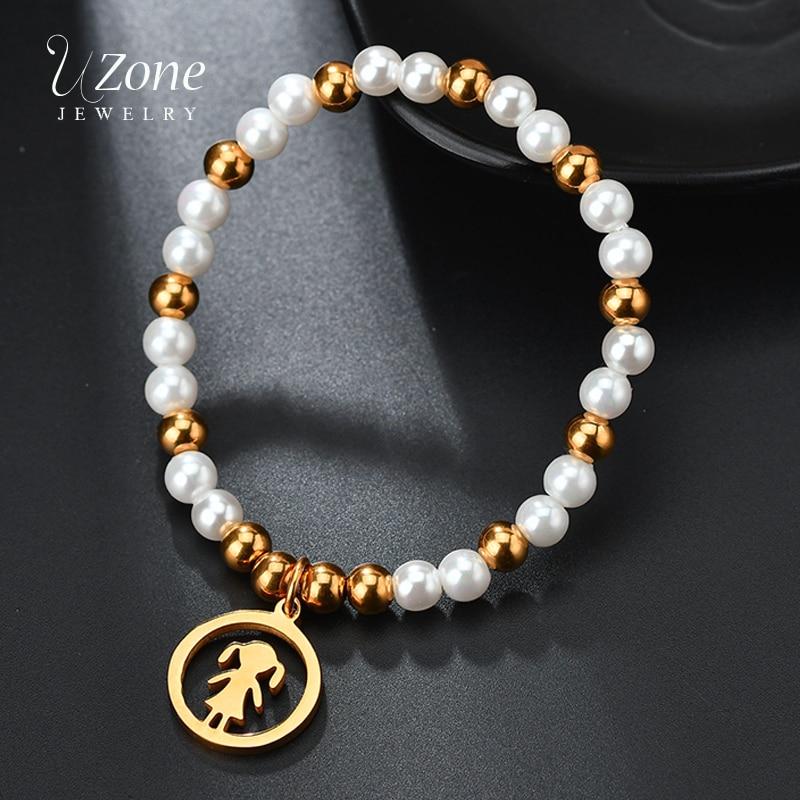 UZone 6mm Pearl Strand Charm Bracelet Girl Boy Women Beauty Stainless Steel Bracelet&Bangle For Women Simulated Pearl Jewelry