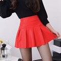 Novo 2017 coreano moda preto vermelho de alta qualidade saia de couro pu das mulheres do vintage de cintura alta saia plissada feminino mini saias