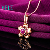 natural red rubellite 18K gold pendant with diamond for women and girl ,flower shape fashion and beaut wiht high quality