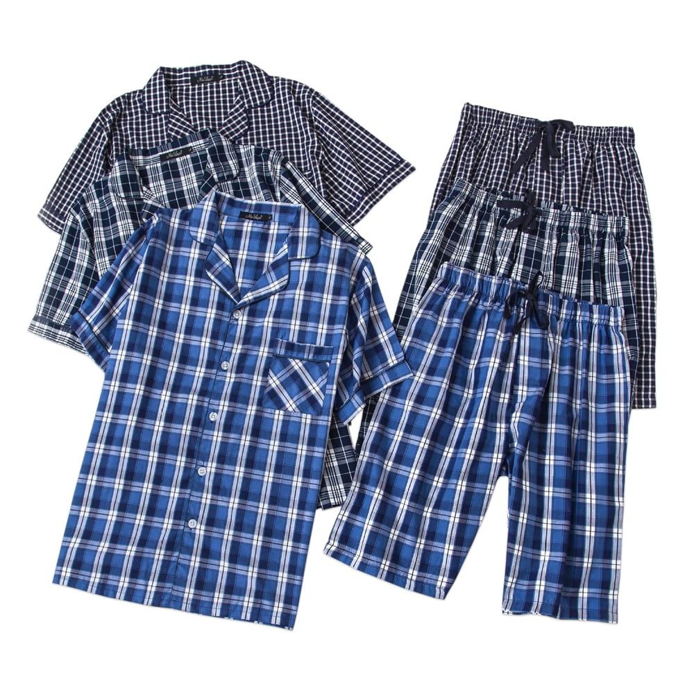 Underwear & Sleepwears Men's Sleep & Lounge Summer Sexy V-neck 100% Cotton Pajama Sets Mens Cosy Short-sleeve Shorts T-shirts Male Homewear Korean Mens Short Sleep Indoor