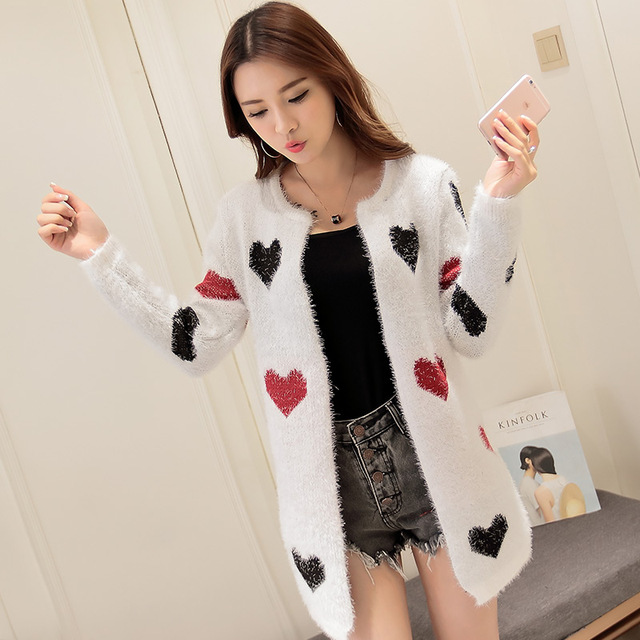 Fashion knit cardigan coat women Mid long mohair sweater female Single  breasted warm sweaters Love Star d699d0303