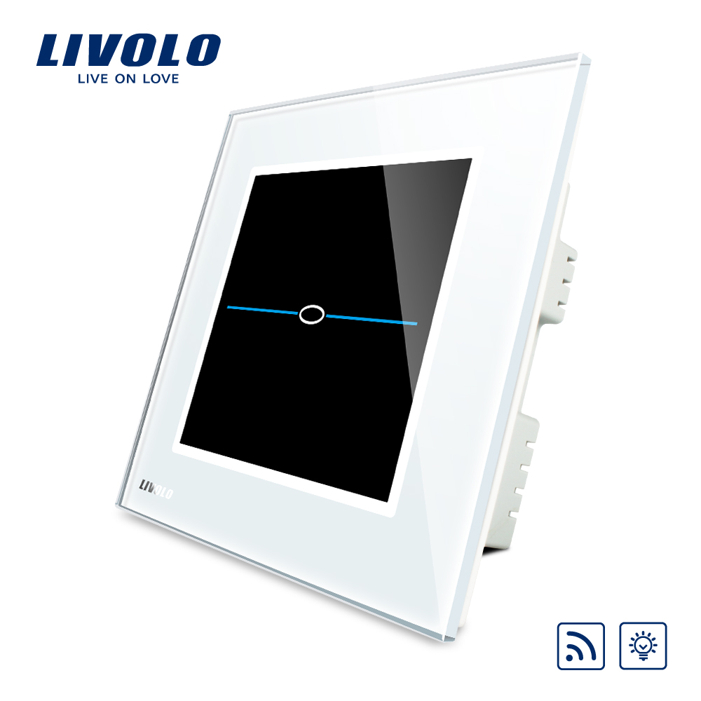 Livolo UK standard Wireless Dimmer Remote  Home Light Switch, AC 220~250V, White Crystal Glass Panel VL-C301DR-31 smart home uk standard crystal glass panel wireless remote control 1 gang 1 way wall touch switch screen light switch ac 220v