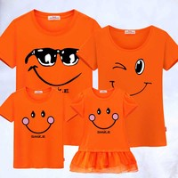 Family Matching Clothes mother father Son clothing Cotton Casual Family Look cotton T shirts Mother Daughter Dresses Outfits