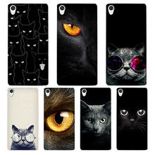 Black Cat White Phone Case Cover for Sony Xperia Z1 Z2 Z3 Z4 Z5 M4 Aqua C4 XA XZ E4 E5 L36H(China)