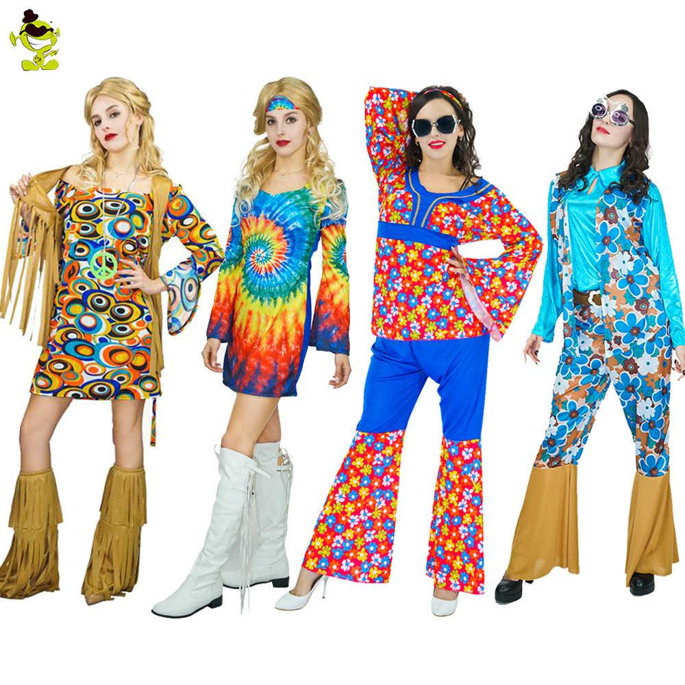 581d824f4214 Adult Women 1960 s Hippie Rainbow Flower Dance Costume Cosplay Carnival  Party Fancy Dress Women 1960 s Hippie