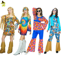 New Arrivals 60 S Party Costumes Adults Hippie Rainbow Flower Dance Costume Women Cosplay Costumes
