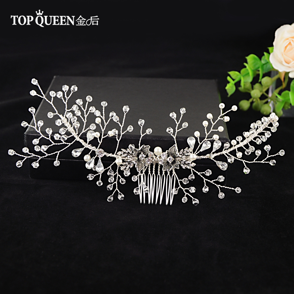 TOPQUEEN Floral Hair Comb Bridal Hair Combs Hair Accessories Cristal Hair Clips Hair Clip Head Band Brind Stone HP02