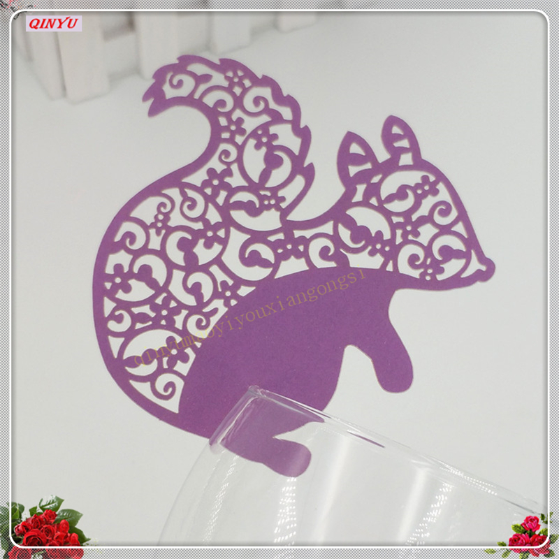 DIY 100Pcs Cute Squirrel Table Mark Place Name Cards Wine