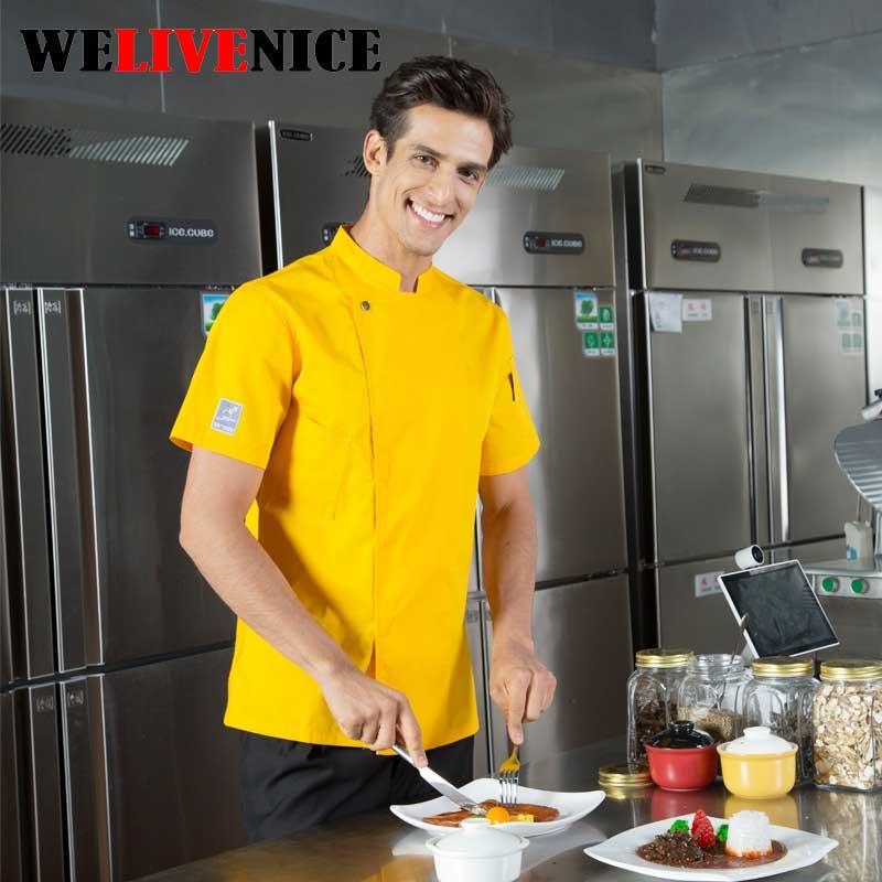Уестърн стил шорт-готвен готвач Бродирани твърди хотелски работно облекло Ресторант работно облекло Инструменти униформен готварски върхове